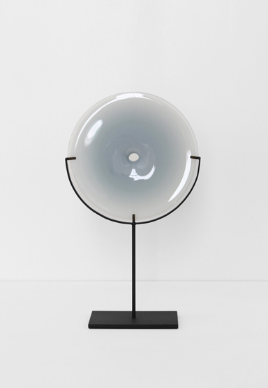 small/gray 21″H x 12″W (53x30cm) shown w/ dark oxidized steel stand