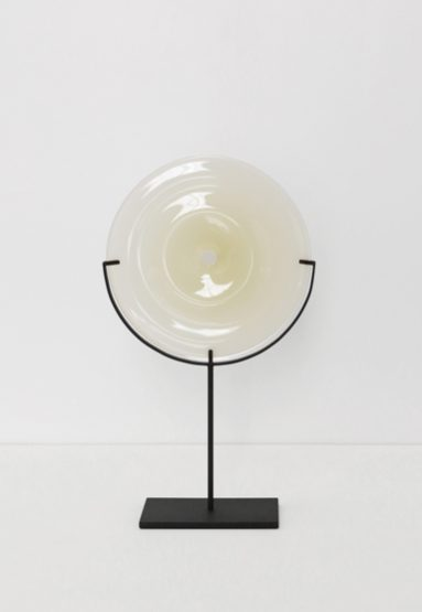 small/light beige 21″H x 12″W (53x30cm) shown w/ dark oxidized steel stand