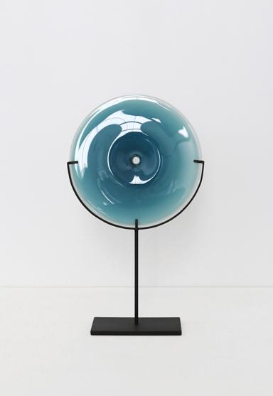 small/new blue 21″H x 12″W (53x30cm) shown w/ dark oxidized steel stand