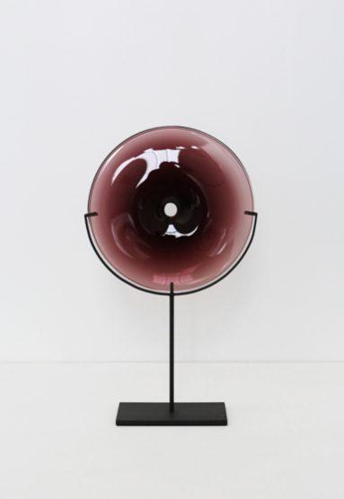 small/plum 21″H x 12″W (53x30cm) shown w/ dark oxidized steel stand