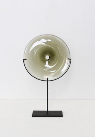 small/smokey gray 21″H x 12″W (53x30cm) shown w/ dark oxidized steel stand