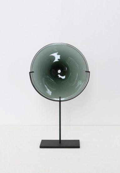small/smoke 21″H x 12″W (53x30cm) shown w/ dark oxidized steel stand