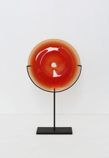 small/strawberry 21″H x 12″W (53x30cm) shown w/ dark oxidized steel stand