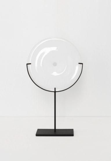 small/white 21″H x 12″W (53x30cm) shown w/ dark oxidized steel stand