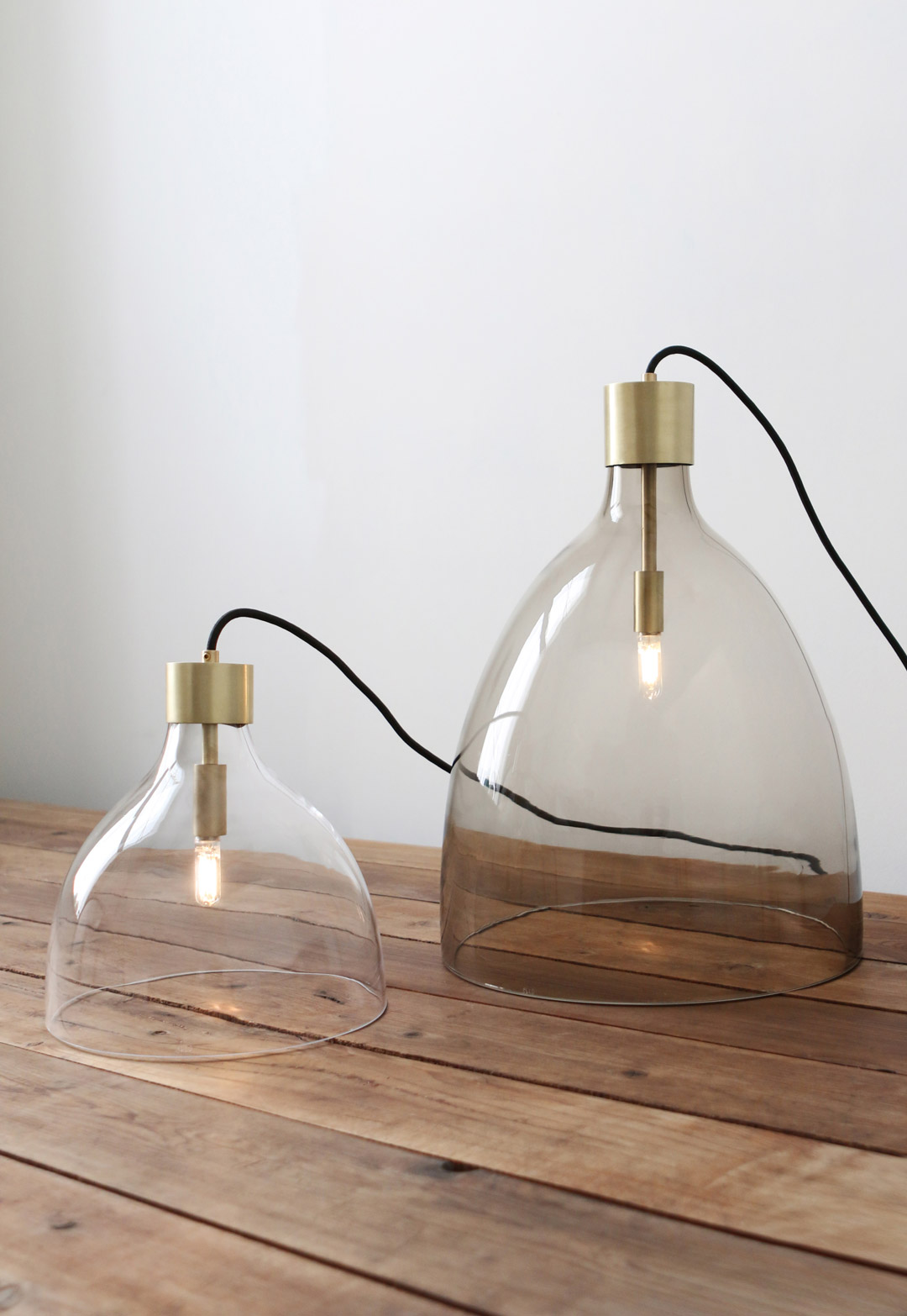 BELL JAR LIGHT Small with clear glass, tall with olivin glass Both with brushed brass metal finish