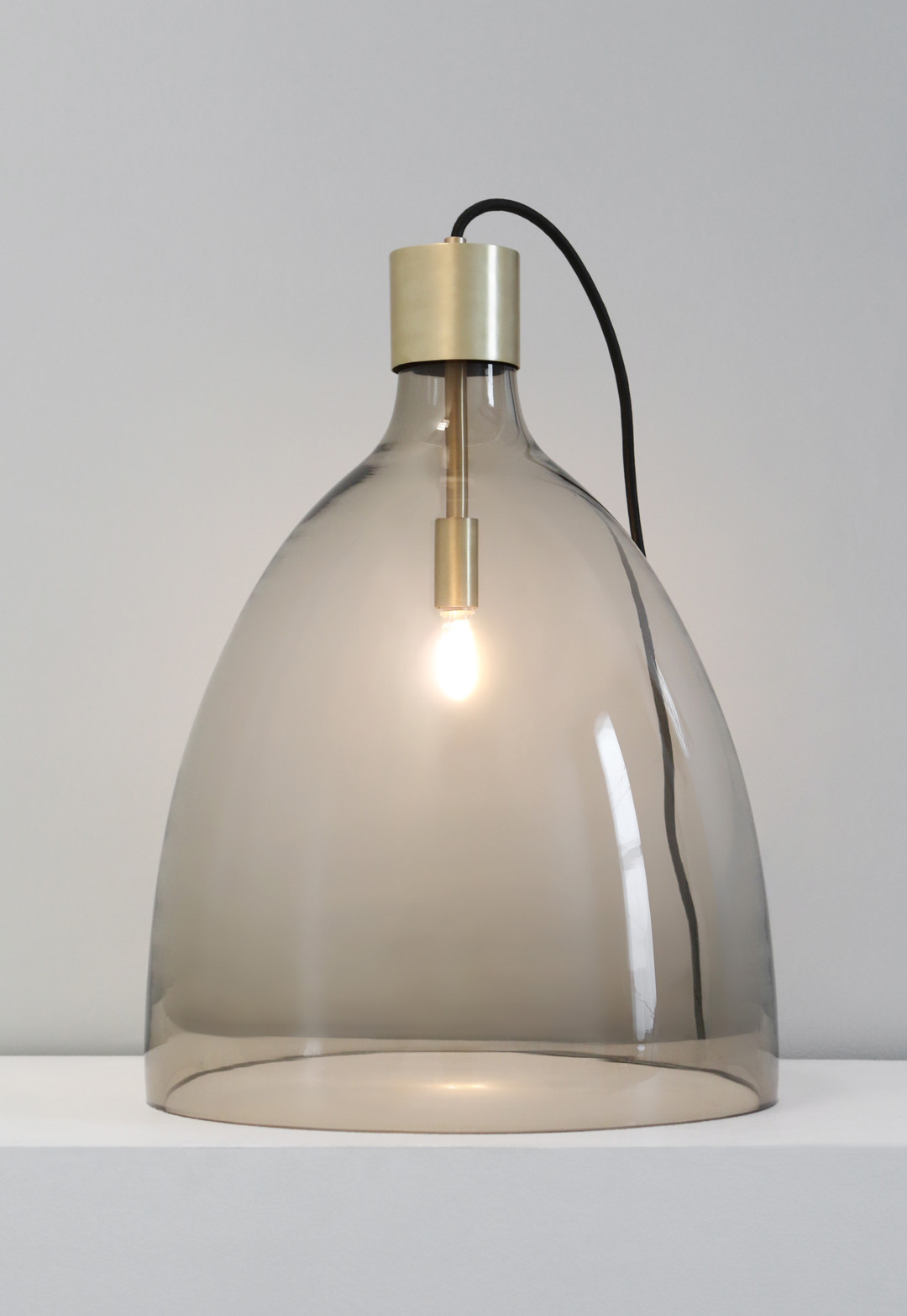 BELL JAR LIGHT TALL Olivin glass, brushed brass metal finish