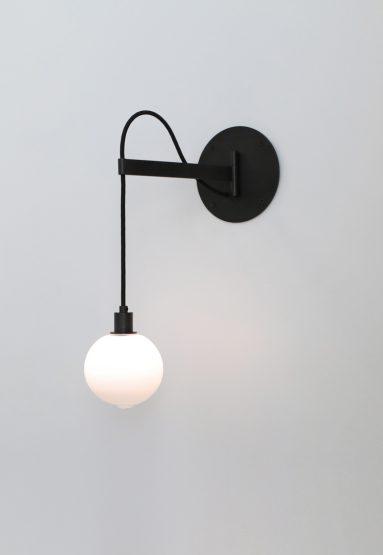 "short arm white 4.5″Dia glass/dark oxidized/black cord 15""H x 9""L (38x23cm) north american canopy shown"