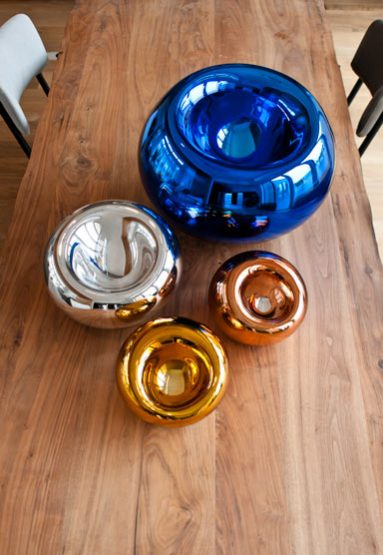 from top: large blue, medium silver, small copper and small gold