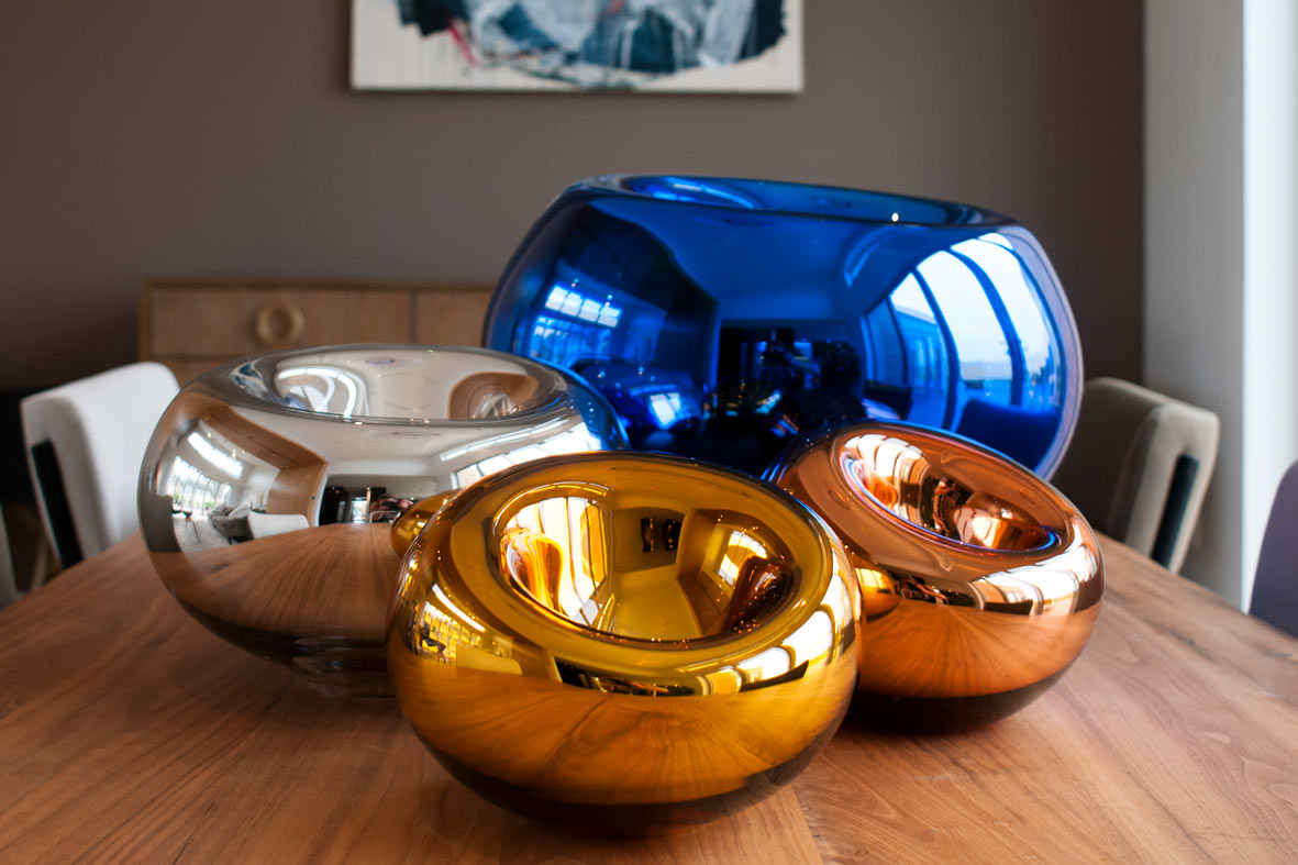 from left: medium silver, small gold, large blue, small copper