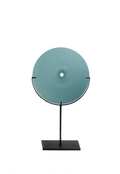 small/new blue 21″H x 12″W (53x30cm) shown w/ dark oxidized steel stand