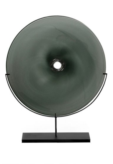 large/smoke 29″H x 24″W (74x61cm) shown w/ dark oxidized steel stand