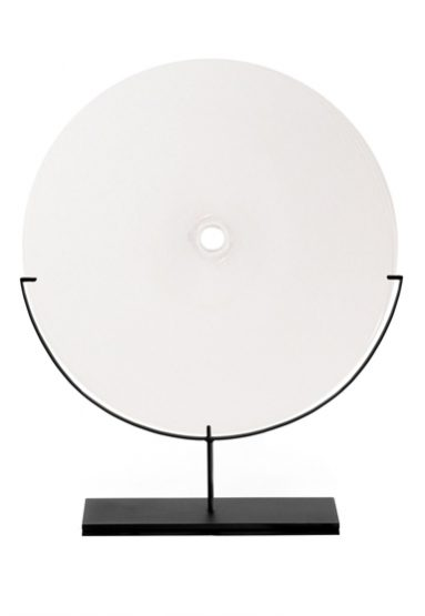 large/white 29″H x 24″W (74x61cm) shown w/ dark oxidized steel stand