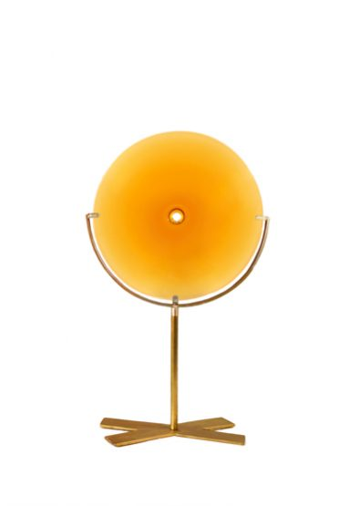 small/amber 21″H x 12″W (53x30cm) shown w/ brushed brass stand
