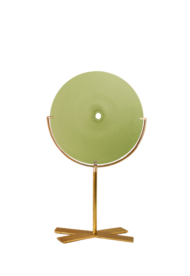 small/pea green 21″H x 12″W (53x30cm) shown w/ brushed brass stand