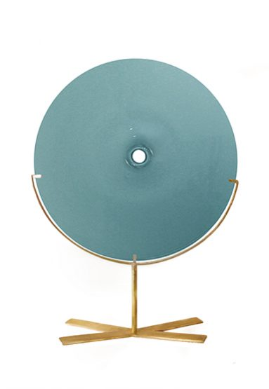 medium/new blue 24″H x 18″W (61x46cm) shown w/ brushed brass stand