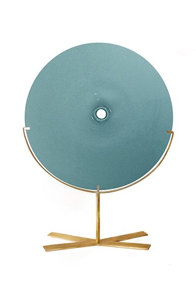medium/new blue 24″H x 18″W (61x46cm) shown w/ brushed brass stand