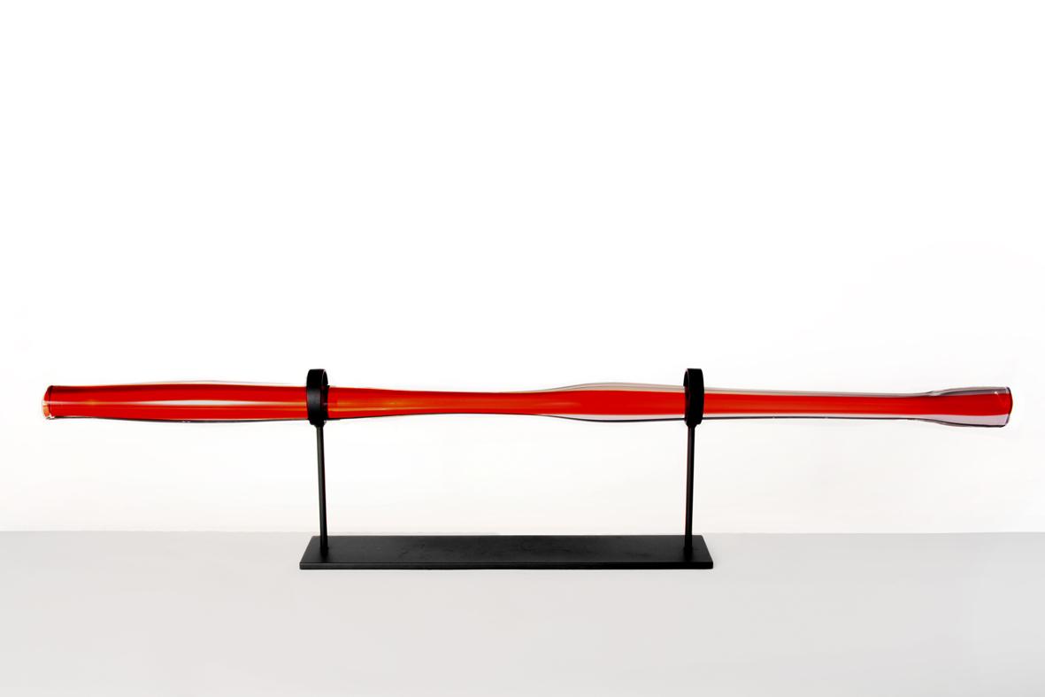 red w/ dark oxidized stand 10″H x 49″ W (25x124cm)