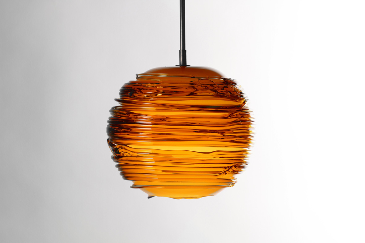 amber glass/dark oxidized 10″Dia (25cm)