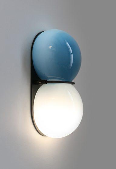 """blue palette glass/dark oxidized 11""""H x 6""""W x 3 7/8""""D (28x15x10cm) shown """"on"""""""