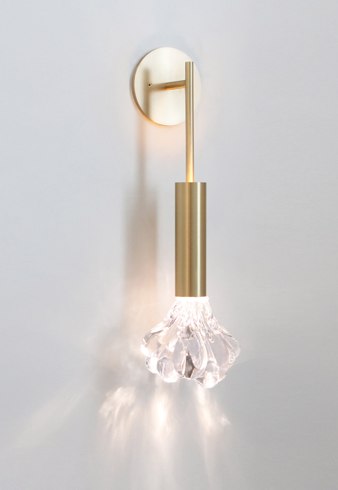 DEW SCONCE Clear glass, brushed brass metal finish