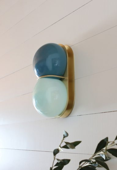 """blue palette glass/brushed brass 11″H x 6″W x 5″D (28x15x13cm) shown """"off"""" on wall"""